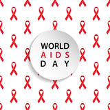 World AIDS Day. Red ribbon seamless pattern. stock illustration