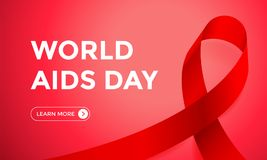 World AIDS day red ribbon web banner design background template for 1 December awareness world day. Vector HIV and AIDS ribbon log. O symbol or emblem badge on Stock Image