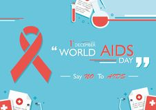 World Aids Day. Aids ribbon and world aids commemorating Royalty Free Stock Image