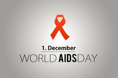 World AIDS day. 1st December. AIDS awarness red ribbon poster title message. HIV simbol Stock Photo