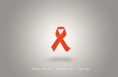 World AIDS day. 1st December. AIDS awarness red ribbon poster title message. HIV simbol Stock Image