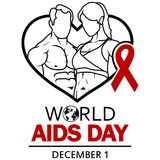World AIDS Day. 1st December World Aids Day poster stock illustration