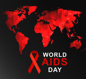 World AIDS Day 1st December. World AIDS Day. 1st December World Aids Day poster with with red polygonal world map . Vector illustration stock illustration