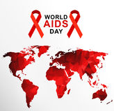 World AIDS Day 1st December. World AIDS Day. 1st December World Aids Day poster with with red polygonal world map . Vector illustration Stock Photos