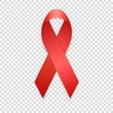 World AIDS Day - 1st December. Realistic red ribbon template closeup. Isolated on transparency grid background. Aids Awareness Concept. Vector EPS10 Stock Photo