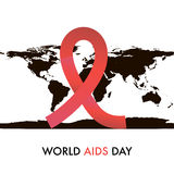 World Aids Day. On 1st December. Symbol on the map silhouette Royalty Free Stock Photography