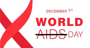 World AIDS Day.1st december World AIDS Day templete for card, poster and banner. World AIDS Day. Concept illustration with red ribbon on red background and stock illustration