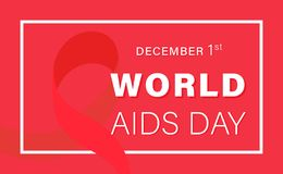 World AIDS Day.1st december World AIDS Day templete for card, poster and banner. World AIDS Day. Concept vector illustration with red ribbon on red background royalty free illustration