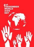World aids day symbol.1st December World Aids Day. Aids Awareness.Red ribbon. ,banner or poster of world aids day. World aids day symbol.1st December World Aids royalty free illustration
