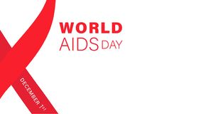 World AIDS Day typographi. Concept illustration with red ribbon on white background. 1st december World AIDS Day templete. For card, poster, presentation and vector illustration