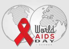 World AIDS Day. Vector illustration with red ribbon and earth planet. World AIDS Day. Vector illustration with red ribbon and earth planet stock illustration
