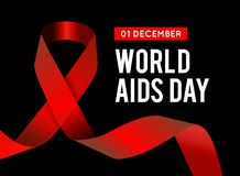 World Aids Day. Vector illustration with red ribbon. S on black background royalty free illustration