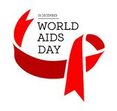 World Aids Day. Vector illustration with red ribbon. S on white background vector illustration