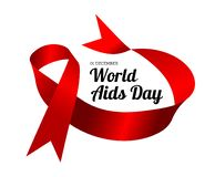 World Aids Day. Vector illustration with red ribbon. S on white background stock illustration