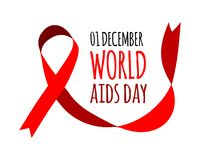World Aids Day. Vector illustration with red ribbon. S on white background royalty free illustration