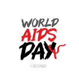 World AIDS Day. Vector. World AIDS Day. The trend calligraphy. Vector illustration on white background. Red ribbon. Concept postcards awareness about AIDS Royalty Free Stock Photography