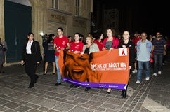 World Aids Day vigil 2014. World Aids Day 2014 vigil in Valletta, Malta Stock Image