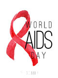 World AIDS day. Watercolor red ribbon. On white background Stock Photography