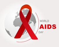 World AIDS Day. World Aids Day poster.Red ribbon on world globe royalty free illustration