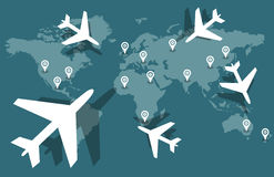 World airplane travel Stock Images
