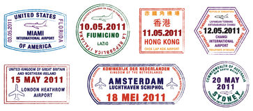 World Airport Stamps. A collection of world airport stamps in  format Royalty Free Stock Photos