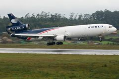 World Airways MD11. Image can be used todepict different articles regarding this company Royalty Free Stock Images
