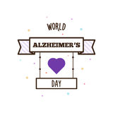World Alzheimers day. Vector illustration. World Alzheimers day. Vector illustration of label and heart Stock Images