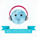 World Amateur Radio Day. Blue and white vector illustration. Cute globe with pink headphones, radio waves and ribbon Stock Photo