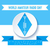 World Amateur Radio Day. Ham radio symbol, circuit diagram with antenna, inductor and ground. Morse code. World Amateur Radio Day. Blue and white vector Royalty Free Stock Photography