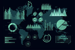 World analytics infographic. Set of transparent graphs and charts, dashboard template Stock Image