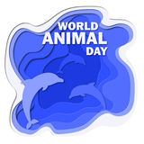 World animal day 3d abstract paper cut illlustration of sea and dolphins. Vector colorful template in carving art style. Stock Photos