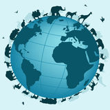 World of animals. Vector illustration of the world Royalty Free Stock Photography