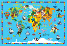 World animals plasticine colorful kids 3d map. World plasticine colorful kids 3d map Stock Photography