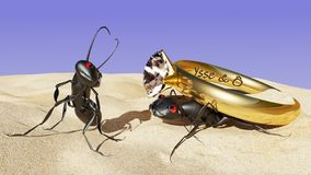 The world from an ant`s perspective. Wedding proposal. stock illustration