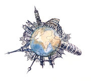 World architecture. World places of interest over the globe (Cbm painting Stock Photography
