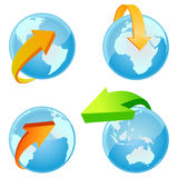 World with arrow around vector vector illustration