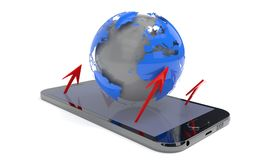 World and arrows on the phone, 3d rendering. World and arrows on the phone, 3d render Stock Image