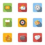 World art icons set, flat style Royalty Free Stock Images
