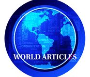 World Articles Shows Global Reports Or Media. World Articles Map Shows Global Reports Or Media stock illustration