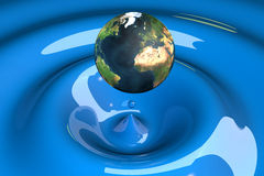 The world as a drop on liquid blue. Wavy 3d illustration Royalty Free Stock Images