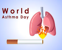 World asthma day background with cigarette lungs and stylish text on blue background- vector eps 10 Royalty Free Stock Photography