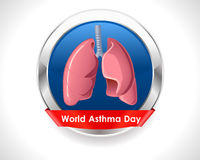 World asthma day badge with lungs - vector eps 10. I have created World asthma day badge royalty free illustration