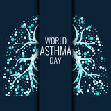 World Asthma Day banner. World Asthma Day. Asthma awareness poster with lungs filled with air bubbles on dark background. Bronchial asthma symbol. National Royalty Free Stock Images