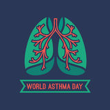 World Asthma Day. Beautiful vector illustration of medical asthma world day logotype. Editable image in green, orange and dark blue colors useful for a poster Stock Image