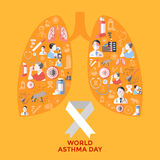 World Asthma Day Icons Set. In shape of lungs with respiratory therapy on yellow background vector illustration Royalty Free Stock Photos