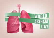 World asthma day. Landscape poster concept. Beautiful vector illustration with lungs image. Editable image in light pink and green colors Stock Photos