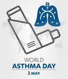World Asthma Day logo lung hospital clinic icon With Inhaler care hands heart on  healthcare Background 2 may. Royalty Free Stock Photography