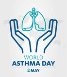 World Asthma Day logo lung hospital clinic icon With Inhaler care hands heart on  healthcare Background 2 may. Stock Image