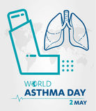 World Asthma Day logo lung hospital clinic icon With Inhaler care hands heart on  healthcare Background 2 may. Royalty Free Stock Image