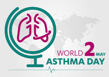 World Asthma Day logo lung hospital clinic icon With Inhaler care hands heart on  healthcare Background 2 may. Stock Photos